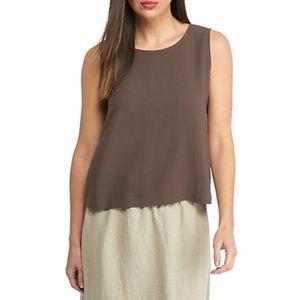 Eileen Fisher 100% silk chocolate brown tank top
